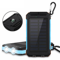 Wholesale dual solar power bank for sale - Group buy Solar Power Bank mAh Dual Power Bank External Battery Portable with LED flashlight and compass Charger Waterproof power bank for phone