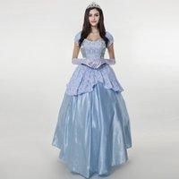ingrosso corone di costume-Cenerentola blu chiaro vestito da ragazza per le ragazze Costume Party Delux Court Princess With Crown