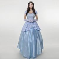 hofkleid cosplay großhandel-Hellblaue Cinderella Kleid Mädchen Cosplay Kostüm Party Kleid Delux Court Prinzessin Mit Krone
