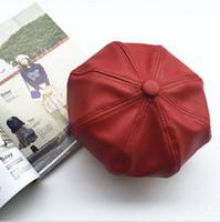 ingrosso cappellino marrone marrone-2015 vendita calda di alta qualità in pelle gentiluomo uomo cappelli berretto cappello newsboy piatta solido donne pu borsette marrone colore nero