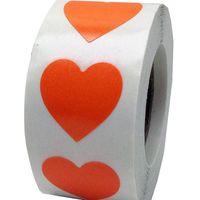 sticker coeur orange achat en gros de-Autocollants orange fluorescent de coeur de 2 pouces, 500 étiquettes sur un rouleau pour l'étiquette de point d'amour de mariage