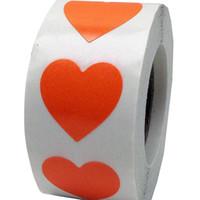pegatina de corazón naranja al por mayor-Pegatinas de corazón naranja fluorescente de 2 pulgadas, 500 etiquetas en un rollo para la etiqueta de punto de amor de boda