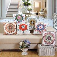ingrosso cuscini ricamati d'epoca-Ricamo decorativo 100% cotone cerchio geometria floreale vintage foglia divano auto ricamato cuscino federa