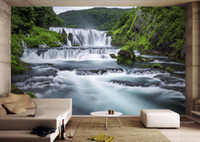 Wholesale forest wallpaper for home - Wholesale-murals-3d wallpapers home decor Photo background wallpaper Croatian forest waterfall landscape 3d background wall living room wall