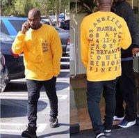 camisas casuais soltas para homens venda por atacado-Kanye west eu sinto como kobe letra impressão de manga longa t-shirt das mulheres dos homens solto casual hip hop esporte tees amantes rua t-shirt topos