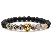 загадки головы будды оптовых-8MM Matted Black Dragon Design Stone Beads Браслет Старинный леопардовый лев Charms Pulseira Feminina Buddha Jewelry