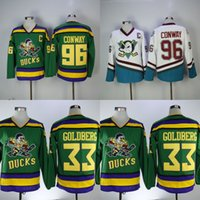 Wholesale movie apparel - Charlie Conway #96 Men's Mighty Ducks Movie Jersey 33 Greg Goldberg Hockey Jersey white blue Athletic Outdoor Apparel S-3XL