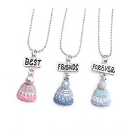 Wholesale colorful pearls necklace - 12pair lot best friends Forever necklace silver tone beautiful colorful woolen hat with pearl charm BFF necklace Children's day gift