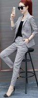traje de dos piezas mujer coreana al por mayor-2018 Primavera y Otoño Moda Traje Casual Traje a cuadros Mujeres versión coreana de Inglaterra viento marea de dos piezas
