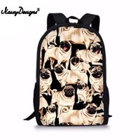 ingrosso baby backpacking-Zaino per ragazze Pug Dog Bulldog Stampa Zaino per bambini Borse per bambini Bookbag Girls Backpacking Rucksack Escolar