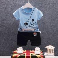 camisas de bebé patrones de animales al por mayor-2018 Verano Nuevo Patrón Niños Niños Niñas Traje de Algodón Perro de Hueso de Bebé Camiseta de Dibujos Animados Pantalones Cortos 2 Unids / set Toddler Chándales