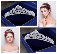 Wholesale antique white ribbon - 2018 new exquisite European simple wedding crown tiara   luxury zircon bride wedding crown   into the shop to choose more styles