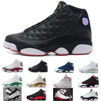Wholesale Mens Summer Fashions - 2018 fashion Summer Black Cat Pure Money For Mens Basketball Shoes 13s low cut Athletic XIII Sport AIR Sneakers