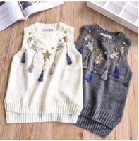 Wholesale Girl Sweater Star - Kids waistcoats Girl five-pointed stars decoration vest Children tassel Before short after long vest 2018 Spring Kids knitting sweater C2581