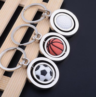 Wholesale Rotating Keychain - 3D Sports Rotating Basketball Football Golf Keychain Keyring Souvenirs Pendant Keyring Key Fob Ball Gifts KKA4020