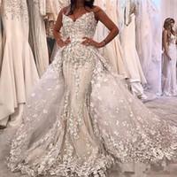 perlen bescheidene moslemische brautkleider großhandel-Luxus Perlen Meerjungfrau Brautkleider Mit Abnehmbarem Zug 2018 Modest 3D Floral Schatz Dubai Arabisch Korsett Prinzessin Brautkleid