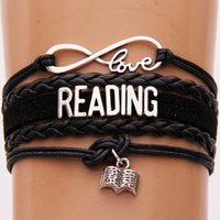 Wholesale reading charms resale online - NCRHGL Infinity love READING bracelets bangles Book charm braided pu leather Art bracelet Jewelry for women men Drop Shipping