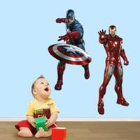decalques de quarto de anime venda por atacado-65 cm de alta Marvel Avengers adesivos dos desenhos animados anime filme supermen decalques meninos crianças casa quarto decoração auto adesivo