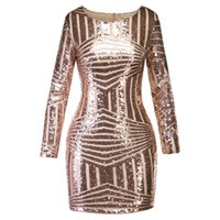 Wholesale sequin cocktail dresses for sale - 2018 Fashion Long Sleeve U Neck Sexy Sequin Cocktail Dress Gold Autumn Sheer Party Dress Winter Women Bodycon Dresses Christmas Gift