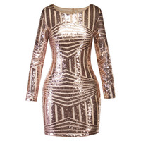 0443921ef714 2018 Moda manica lunga con scollo a U Sexy paillettes Abito da cocktail oro  Autunno Sheer Party Dress Inverno Donna Bodycon Abiti regalo di Natale