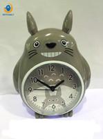 Wholesale cartoons alarm clock - Alarm Clock Night Light NEEDLE Double Bell Mute Multi-functional Voice Cute Cartoon Students Children Table Totoro Clock
