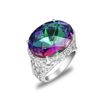 Wholesale crystal rings online - Luckyshine new latest style fashion brand sterling silver plated austrian crystal Mystic topaz punk gemstone lovers wedding rings R0650