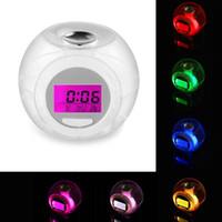будильник включен оптовых-New Design Digital Alarm Clock Desk Decoration Wake Up Light Clock For Kids Child Toddler Adults 7 Colors Changing Alarm Clock