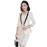bayan ofis çalışma üniforması toptan satış-Profesyonel Kısa / Yarım Kollu Elbise Takım Elbise Yaz 2018 Iş Kadınları Ofis Lady Diz boyu Çalışma Üniforma Resmi Giyim