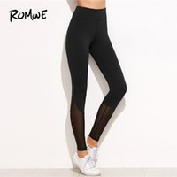 ingrosso black female yoga pants-Romwe Sport Solid Nero Inserto in Mesh Palestra Pantaloni sportivi Donna Yoga Collant 2018 Autunno Donna Fitness Yoga Leggings