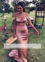 parlak gelinlik toptan satış-2018 Parlak Pembe Mermaid Gelinlik Modelleri Kapalı Omuz Uzun Örgün Elbiseler Hizmetçi Onur Düğün Konuk Elbisesi Custom Made Sıcak Satış Ucuz