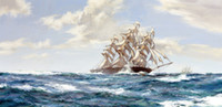 Wholesale sailing ship paintings resale online - Sailing Ship Racing Home Painting by Montague Dawson Handpainted Abstract Seascape Oil Painting Wall Art Home Decor On Canvas Multi Size