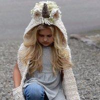 ingrosso neonato ha lavorato a maglia gli insiemi-Tagliare i cappelli di unicorno lavorato a maglia con sciarpa set inverno antivento bambini Ragazzi ragazze riscaldare cappucci di shapka per bambini sciarpa berretti Cappellini