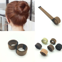 Wholesale donut hair bun styles for sale - Creative French Hair Ties For Women Hairs Magic Tools Bun Maker Durable DIY Styling Donut Former Foam Twist ys BB