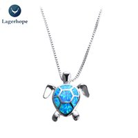 Wholesale 925 silver turtle - Lagerhope Women Necklace Blue Opal Turtles Wedding Jewelry 925 Sterling Silver Filled Necklaces Pendants Wholesale