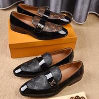 ziyafet yayları toptan satış-El yapımı Hakiki Patent Deri Ve Kravat Kravat Ile Nubuk Deri Patchwork Düğün Siyah Elbise Ayakkabı erkek Ziyafet Loafer'lar