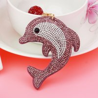 Wholesale Leather Dolphin - Fashion crystal shinning keychain ornaments exquisite fashion dolphin double color drill bag pendant tassel key buckle