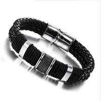acier inoxydable magnétique achat en gros de-3 Taille Mens Bracelet en cuir tressé - Boucle magnétique en acier inoxydable Black Wrist Cuff Bracelet Men Designer Moto bijoux