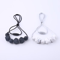 Wholesale silicone teething jewelry for sale - Group buy Silicone Chew Jewelry Beaded Necklace Fashion Baby Mom Necklace Teething Beads Chewlry Food Grade Silicone Teether Toys
