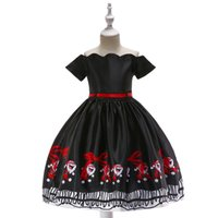 Wholesale american fashion dresses online - Xmas Baby girls Christmas deer elk print dress Children Santa Claus princess dresses fashion Boutique Kids Clothing colors DHL C1811142