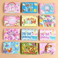 erkek çocuk doğumgünü kartları toptan satış-Kağıt Doğum Günü Davetiye Flamingo Unicorn Kız Erkek Karikatür Taç Mutlu Doğum Günü Partisi Davetiyeleri Kartları Çocuk Greet Kağıtları 0 15by ff