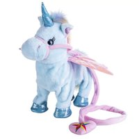 Wholesale fun electronics resale online - Electric Walking Unicorn Stuffed Animal Toy Exquisite Workmanship Pull Rope Electronic Music Flying Horse Toys Fun Gift jm KK