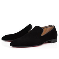 Wholesale mens burgundy dress shoes for sale - Group buy Brand Red Bottom Loafers Luxury Party Wedding Shoes Designer BLACK PATENT LEATHER Suede Dress Shoes For Mens Slip On Flats