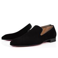 designer de luxo sapatos vestido de marca venda por atacado-Marca Red Loafers inferior Luxo Wedding Party Shoes Designer PRETO PATENTE camurça Sapatos Para Homens mocassim Flats
