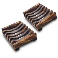 fregaderos de madera al por mayor-2 unidades de madera natural plato de jabón baño de madera caja de jabón titular de la cubierta del fregadero bañera plato de ducha plato de jabón platos portátiles