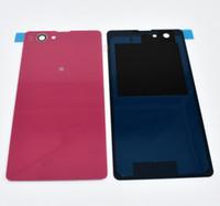 estuches sony xperia z1 compact al por mayor-Nuevo caso de la puerta de la cubierta de la batería trasera de vidrio para Sony Xperia Z1 compacto Z1 Mini D5503 M51W de la vivienda con adhesivo