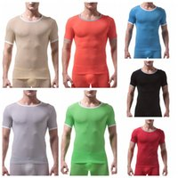 enge seidenunterwäsche großhandel-Slim Tight Herren Stretch Kurzarm T-Shirt Ultra dünnes Eis Seide Unterhemd Mens Stretch atmungsaktiv T-Shirt Tops Unterwäsche