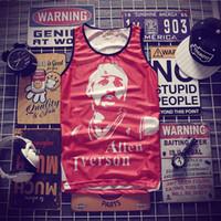 havalandırmalı gömlek toptan satış-Hip-hop Iverson baskı Tankı Üstleri erkek 2018 Yaz 3d Örgü Yelek Fit Slim Kolsuz Tee Gömlek havalandırmak Vücut Geliştirme Giyim