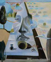 abstrakte gemälde gesichter großhandel-100% handgemalte berühmte künstler leinwand gemälde reproduktion abstraktes gesicht salvador dali malerei wandkunst ölgemälde auf leinwand handgefertigt