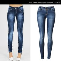 Wholesale Jeans Push - Wholesale-Low Waist Blue Skinny Jeans Women Fashion Washed Bleached Scratched Jeans Femme Plus Size Push Up Vintage Slim Cotton Trousers