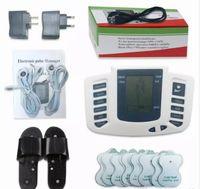 akupunktur hausschuhe großhandel-Elektrischer Anreger-voller Körper entspannen sich Muskel-Digital-Massager-Impuls Zehner-Akupunktur mit Therapie-Hefterzufuhr 16 PC-Elektrodenauflagen FREIES SHIPPIN